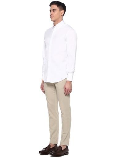 Brunello Cucinelli 101487834 Basic Fit Polo Yaka Uzun Kollu Erkek Gömlek Beyaz